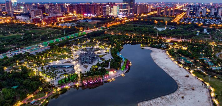 塘西河公园亮化改造美轮美奂
