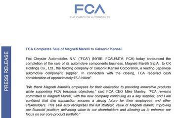 58亿欧元!FCA完成出售旗下零部件公司马瑞利