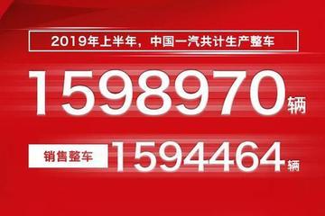 中国一汽上半年销售整车1594464辆