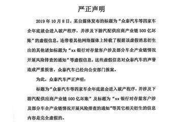 网传四车企将破产 众泰、力帆、猎豹相继否认