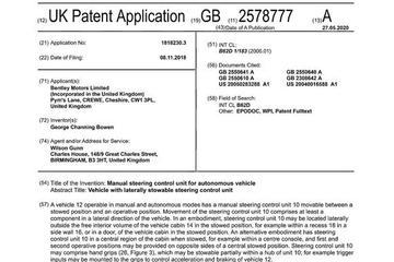 宾利申请自动驾驶汽车方向盘专利 或用于首款电动车上