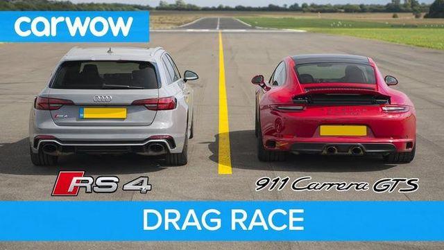 直线加速赛:奥迪RS4挑战保时捷911 GTS