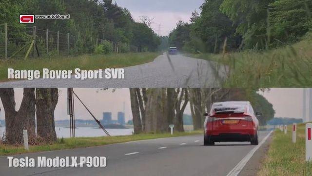 争锋对决!揽胜运动版SVR 加速对比MODEL X P90D