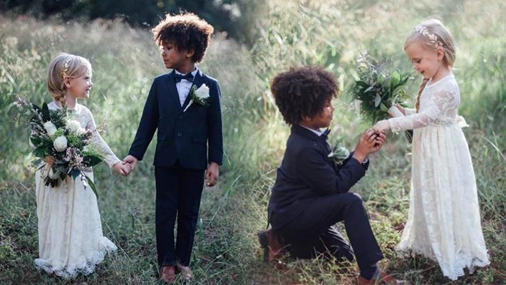 """摄影师为自己孩子拍摄的""""结婚照"""""""