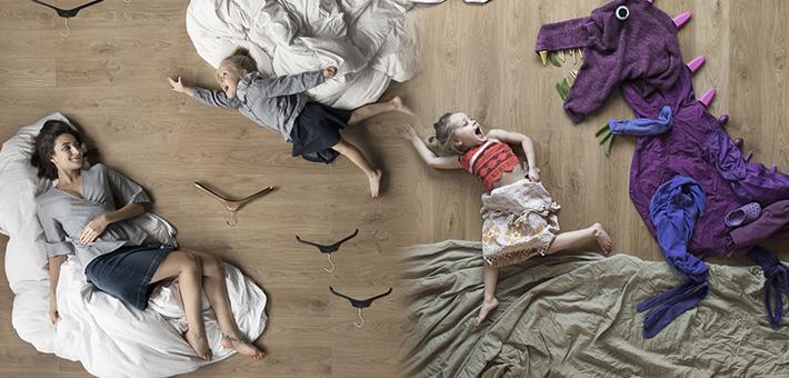 摄影师妈妈设计地板上的创意生活
