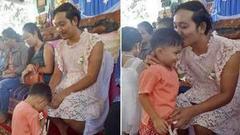 单亲爸爸穿连衣裙参加母亲节活动:不想孩子自卑