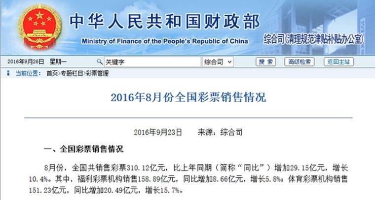 财政部:8月彩票销310.12亿元 同比增长10.4%