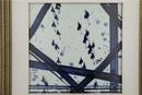 青花《雨中竟翔》瓷板