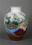300件 瓷瓶高温颜色釉 《湖光山色》尺寸49x32cm
