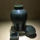 瓦当纹茶叶罐 和田玉籽料青玉 86x86x135mm 456克 25万