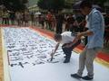 著名书法家刘灿铭在南京新百现场书写巨幅