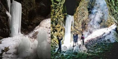 重庆一地区瀑布夏日成冰 且终年不化