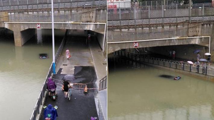 桂林暴雨袭城致内涝 车辆被泡