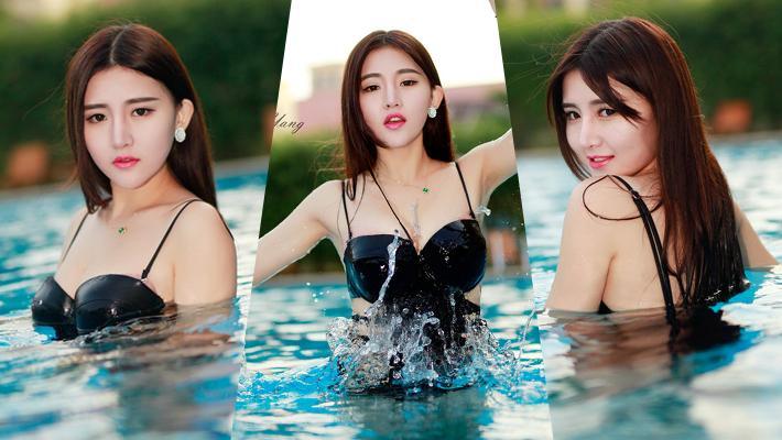 丰满女神泳池戏水活泼可爱