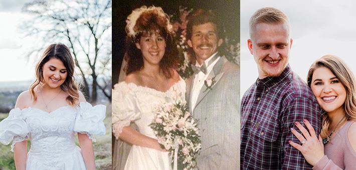 穿母亲婚纱拍照 为父亲送惊喜