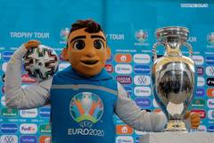 EURO 2020 soccer tournament trophy presented in Bucharest