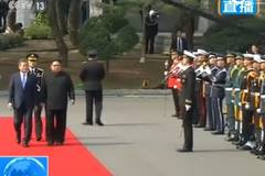 Moon holds welcome ceremony for North's Kim