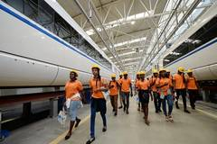 Nigerian students visit high-speed railway training base in China's Shaanxi