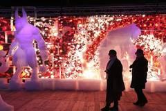 Ice sculpture festival held in Bruges, Belgium