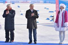 Putin attends awarding ceremony of cross country skiing men's 10km individual at 29th Winter Universiade