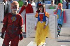 Children in costumes take part in Murter Carnival parade in Croatia