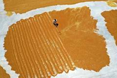 Villagers drying wheat in China's Shanxi