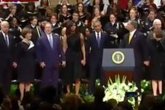 George W Bush mocked on social media for dancing during hymn at Dallas memorial service