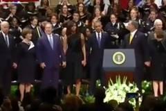 Bush mocked for dancing at Dallas memorial service