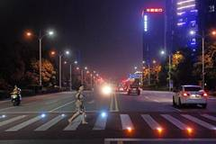 Lighted pedestrian crosswalk seen in C China