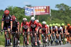 Cyclists compete during 2016 Tour of Hainan Int'l Road Cycling Race