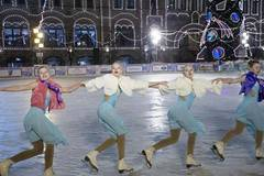 Outdoor ice skating rink in Moscow opens to public