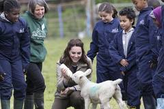 Britain's Duchess of Cambridge visits farm in Arlingham