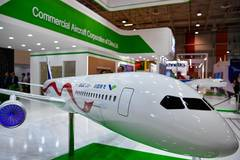 Model of China-Russia commercial aircraft displayed in France