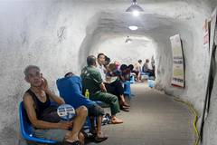 Air defence shelters help citizens escape from heat