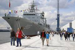 PLA Navy frigates introduced to visitors at Port of Antwerp, Belgium