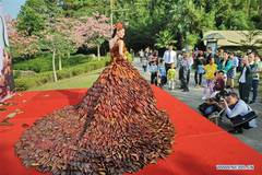 Dress made of 5,888 leaves seen in S China's Guangdong