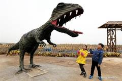 Sculptures made with waste tyres attract crowds in E China