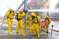 Emergency drill against winter chemical hazards, accidents held in Inner Mongolia