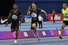 6.47 seconds! Su won the men's 60 meters title