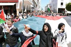 People march to commemorate upcoming Nakba Day in Rabat, Morocco