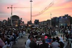 First fast-breaking meal of this year's Ramadan served at Taksim Square in Turkey