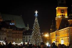 Christmas lights lit up in Warsaw, Poland