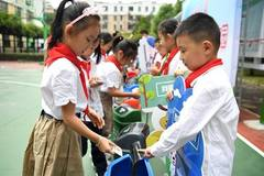 Students learn garbage sorting in China