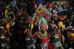 People celebrate during Indrajatra Festival in Kathmandu, Nepal