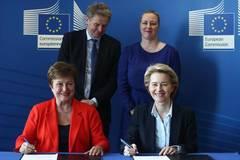 IMF managing director, European Commission president sign new Financial Framework Partnership Agreement at EU headquarters
