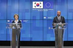 EU leaders attend press conference after video conference with ROK