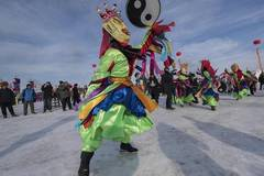 Tourists enjoy themselves in winter season in China's Inner Mongolia