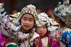 Children attend Dong New year festival with ethnic hats in SW China