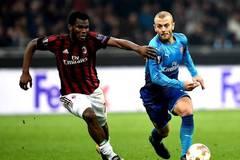 Arsenal defeats AC Milan 2-0 at Europa League soccer match