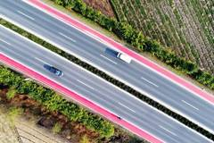 Aerial photos show colored road in east China's county